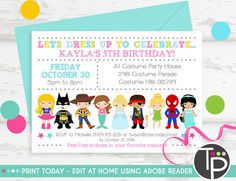 Costume birthday party invitations with envelopes fall halloween costume party invitation instant download by tweetpartyprintables filmwisefo