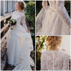 Find More Wedding Dresses Information about Romantic Sheer Boat Neck Long Sleeve Illusion Backless with Ruffles Design Long White Lace Beach Wedding Dress 2014 Vestido,High Quality dress for thick waist,China boat neck mini dress Suppliers, Cheap dress attire for work from Sao Tome Garments Co., Ltd. on Aliexpress.com