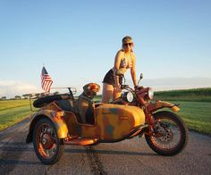 Who will you adventure with? @adventurerig with her co-pilot Hank on their vintage Ural.