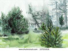 New watercolor by Veronika Surovtseva!  Original watercolor painting of pine misty forest by Veronika Surovtseva, via ShutterStock