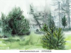 Original watercolor painting of pine misty forest by Veronika Surovtseva, via ShutterStock