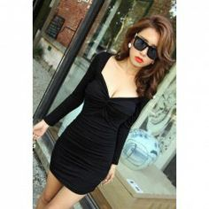 $7.31 Sexy Plunging Neck Ruche Design Backless Long Sleeve Dress For Women