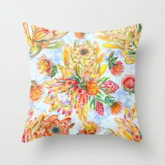 Orange and pink protea flowers floral on blue Throw Pillow by ruthpark