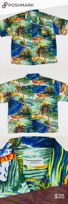 "Hawaiian Vintage Collection Men's Shirt XXL Hawaiian Vintage Collection Men's Shirt Short Sleeve BRIGHT Palm Flowers Sz XXL in excellent pre-owned condition. Please check measurements for perfect fit. Measurements: Arm pit to arm pit: 28"" (56"" around) Length: 32"" From shoulder seam to bottom hem Measurements taken while garment is laying flat without stretching fabric. Clean! Recommended all pre-owned items be washed before worn. Items may become wrinkled during shipment. hawaiin vintage…"