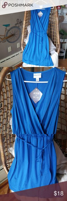 fb7fd1a0dfafb Ava & Viv wrap dress Blue stretchy wrap dress, new from target fits 16W/