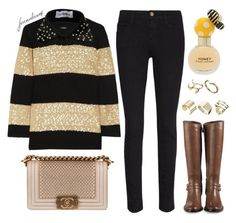 """""""Fun Fall Fragrance: Honey by Marc Jacobs"""" by foreverdreamt ❤ liked on Polyvore featuring Marc Jacobs, Cole Haan, Frame Denim, ASOS, J.Crew, OLYA SHIKHOVA and Chanel"""