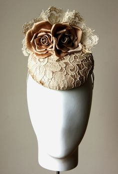 Stunning silk & lace bridal fascinator hat with hand made silk roses from Esther Louise Millinery