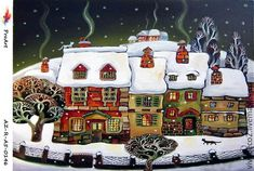 Miguel Freitas ~ The naive memories Christmas Scenes, Christmas Art, Vintage Christmas, Art And Illustration, Winter Art, Naive Art, Tole Painting, Whimsical Art, Home Art