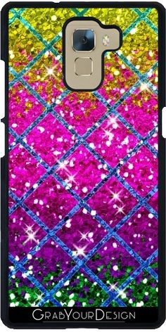 GrabYourDesign - Case for Huawei Ascend Mate 7 Glitter Purple Snakeskin - by Cool Iphone Cases, Snake Skin, Glitter, Purple, Viola, Sequins, Glow