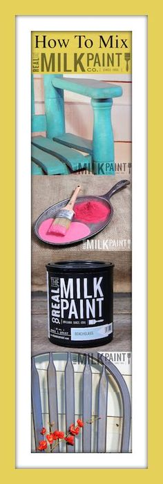 1. Open Can with a flat head screwdriver 2. Remove bag with powdered paint inside 3. Remove twist tie or rubber band 4. Cut off Blue Tape from bag 5. Scoop out the amount of paint you want to make 6. Dump the scoop full of powder back into can 7. Fill scoop with water & pour into the can 8. Snap plastic paint can lid back on can 9. Shake your Can 10. You will hear the marble agitator rolling around & mixing the paint 11. Shake for 2 to 5 minutes 12. Open Can & paint , its that easy !
