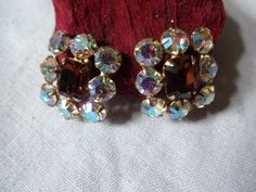 Vintage Aurora Borealis Clip Earrings with Amber Center Rhinestone   SelectionsBySusan - Jewelry on ArtFire