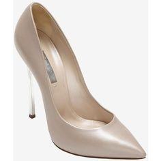 Casadei Silver Metal Stiletto Heel Pump: Nude