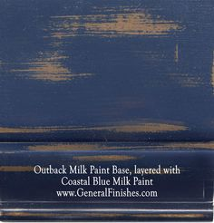 "Outback Brown Milk Paint, layered with Coastal Blue by GeneralFinishes. Not really a ""milk"" paint but a smooth working 100% water base acrylic paint, perfect for indoor/outdoor furniture & projects - visit http://www.generalfinishes.com/retail-products/water-base-milk-paints-glazes. Intermixable - easier to use than chalk paint! Mix it, lighten it, distress it, glaze it, antique it. Buy at Rockler & Woodcraft Woodworking stores. Find more stores at http://www.generalfinishes.com/where-buy."