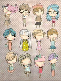 12款手绘卡通女孩