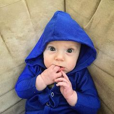 Swooning over this handsome guy in our Cobalt Hoodie Jumper!