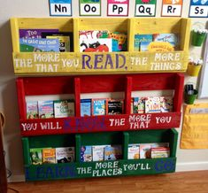 Pallet bookshelves. Display book shelves we made from one pallet, with Dr. Seuss quote.