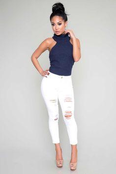 Turtleneck Sweater Bodysuit - Navy - Tops - Clothing