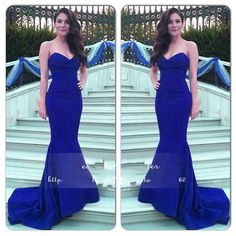 Royal Blue Prom Dress,2016 Gorgeous Mermaid Evening Dress,Sweetheart