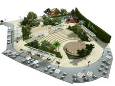 Urban Design Concept, Urban Design Diagram, Urban Design Plan, Landscape Design Plans, Landscape Architecture Design, Concept Architecture, Urban Architecture, Urban Landscape, Amphitheater Architecture