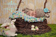 Happy Easter! A baby 'Bunny in Training' keeps her growing pastel eggs cozy in the nest! Photography Prop Blanket by BabyBirdz, $65.00