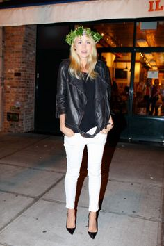 Elin Kling in Acne:  leather jacket over black and white outfit