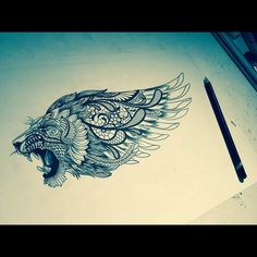 Nice shoulder to upper back. Leo Tattoos, Feather Tattoos, Future Tattoos, Animal Tattoos, Tattoos For Guys, Sleeve Tattoos, Tattoo Flash, Lion Tattoo Design, Tattoo Designs