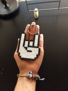Hand Signal Perler beads keychain handmade by BeadArtDesign Easy Perler Bead Patterns, Melty Bead Patterns, Perler Bead Templates, Diy Perler Beads, Perler Bead Art, Pearler Beads, Fuse Beads, Hamma Beads Ideas, Melty Beads Ideas
