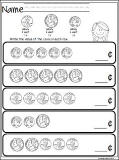 Free coin counting math worksheet. Students practice adding pennies, nickels, and dimes. Great money practice for 1st and 2nd grade. Advanced Kindergarten students could do this as a challenge activity.