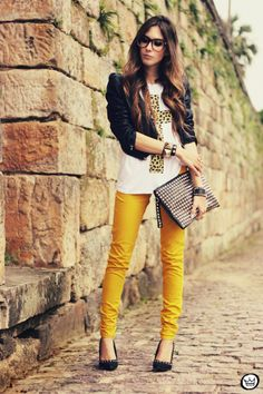 Styling yellow pants, white t-shirt and black leather jacket