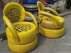 Recycled Tires Yellow Chairs