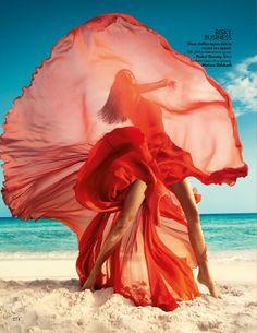 Orange Crush - Raica Oliveria by Luis Monteiro for Vogue India March 2016