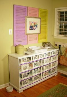 Organizing with an old dresser & dollar store bins - 150 Dollar Store Organizing Ideas and Projects for the Entire Home