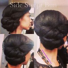 Try this side swept bun on straight, stretched or blown out hair. #StyleInspiration