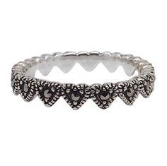 Kendra - Sterling Silver Marcasite Heart Ring