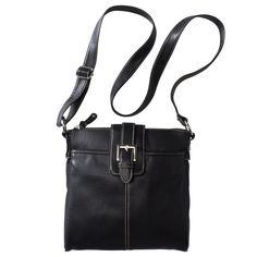 Women's Crossbody Faux Leather Handbag Black - Merona