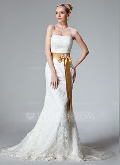 Trumpet/Mermaid Strapless Court Train Sash Beading Bow(s) Lace Up Strapless Sleeveless Beach General Plus No Winter Spring Summer Fall Ivory Lace Wedding Dress