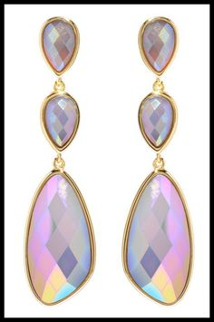 Marcia Moran iridescent agate earrings in gold.
