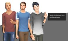 THREE OF A KIND MINI-PACKThis mini-clothing pack comes with three male tops. You can see a static version of the included swatches here! The details for the pack are as follows: Longline Deep...