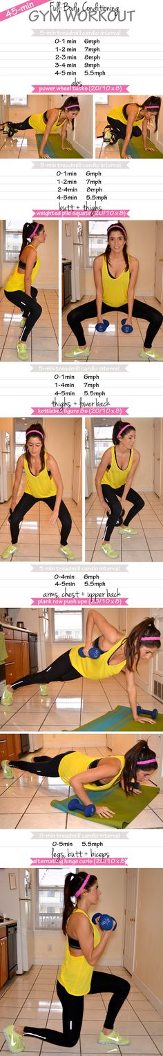 45-minute full-body conditioning gym workout. Mixes treadmill intervals with tabata strength training.