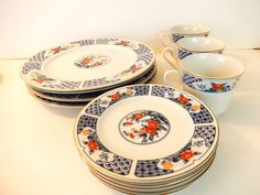Decorative Porcelain Chinese Plate Saucer and Cup Set Vintage http://www.thesecondhandplanet.com/