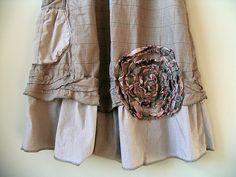 CUSTOM ORDER AMY, Upcycled Lagenlook Jumper Dress, Taupe Rose, Prairie Chic, Embellished, Artsy Original Design, Upcycled Clothing, Medium  Thank