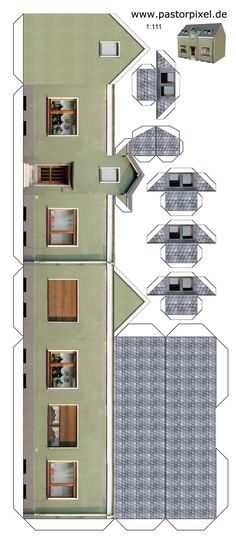 Papercraft Houses House Cutout Craft to Color - Printable Papercrafts Ho Scale Buildings, Free Paper Models, House Template, Putz Houses, Glitter Houses, Model Train Layouts, Paper Houses, Miniature Houses, Paper Toys