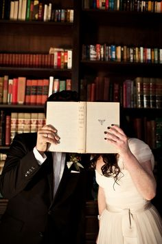 From a wedding at Alder Manor in Yonkers, as seen on Ruffled. Wedding Photographer: Brookelyn Photography. #library #books