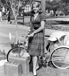 Jane Fonda poses with bike.
