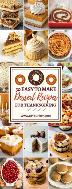 Thanksgiving Desserts: 30 to Make for the Big Party. 30 Thanksgiving Desserts These 30 Thanksgiving desserts will be the perfect finish to an amazing feast. They look delicious and are easy to make last minute! Dessert Party, Party Desserts, Christmas Desserts, Dessert Recipes, Easter Desserts, Party Recipes, Christmas Baking, Baking Recipes, Dessert Simple