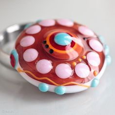 Funky Colorstorm Summer  Ring Topper Lampwork Bead   SRA interchangeable cabochon glass