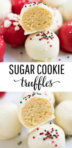 No-bake sugar cookie truffles made with only 4 ingredients!-No-bake sugar cookie truffles made with only 4 ingredients! An easy and deliciou… No-bake sugar cookie truffles made with only 4 ingredients! An easy and delicious treat for the holidays. Yummy Treats, Delicious Desserts, Sweet Treats, Yummy Food, Healthy Desserts, Dinner Healthy, Delicious Dishes, Christmas Snacks, Christmas Cooking