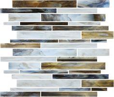 #VitraArt #StainedGlass #RandomStripMosaic in #Corallo - Available at #MidAmericaTile  #mosaic #glass #tile #backsplash #bath #kitchen #white #gray #grey #brown #black #bianco #grigio #StainGlass #ArtGlass #TortoiseShell
