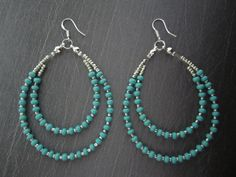 Turquoise & Silver Long 2 Row Beaded Hoop Jewelry by carimarjewels, $9.00