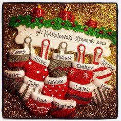 Personalized Christmas ornament // Large family by AdornamentsNY Family Christmas Ornaments, Family Ornament, Personalized Christmas Ornaments, Mittens, Creativity, Holiday Decor, Handmade Gifts, Etsy, Custom Christmas Ornaments